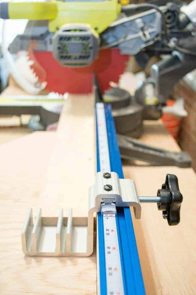 The Kreg Trak Production Stop is the best way to get exact cuts with your miter saw every time.