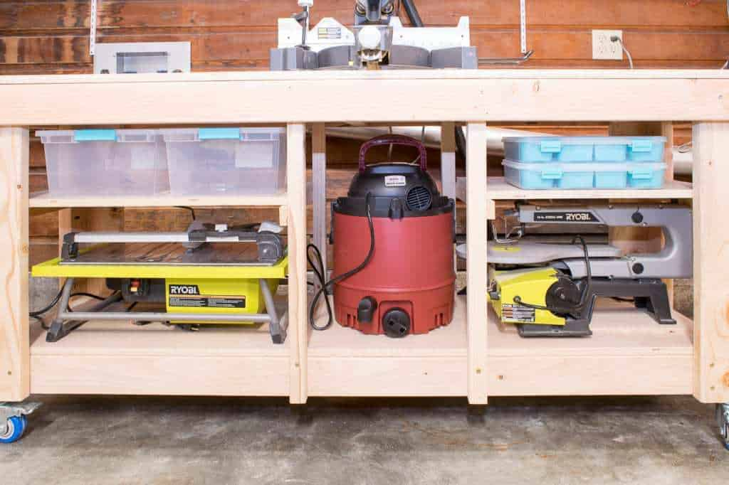 The custom shelves of this miter saw stand take advantage of every inch of space!