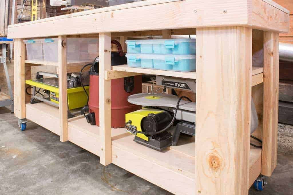 This tutorial gives you a simple way to add shelving to your miter saw stand to take advantage of every inch of storage space!