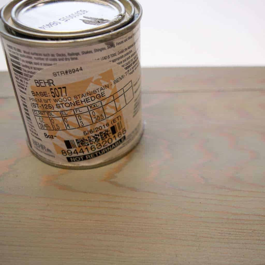 This gray stain worked best to remove the orange hue of the cedar board.
