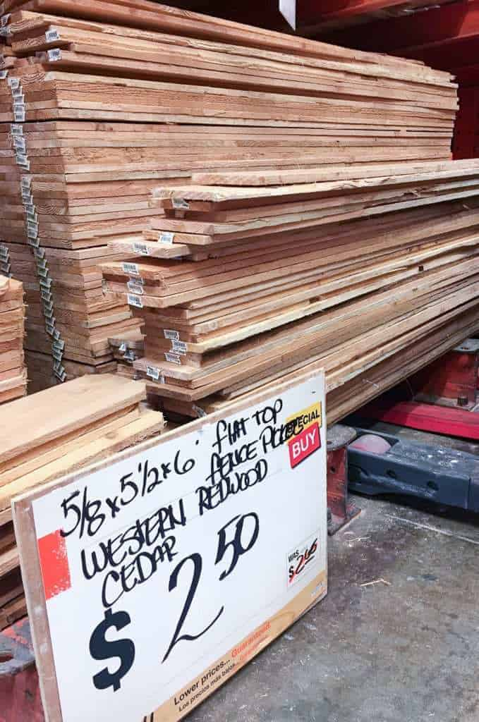 These cedar fence pickets are the cheapest source of rot-resistant wood for your garden trellis!