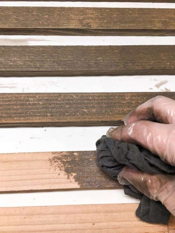 Staining your garden trellis pieces before assembly is much easier!