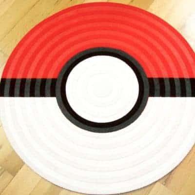 DIY Pokeball Rug for Pokemon Themed Bedroom