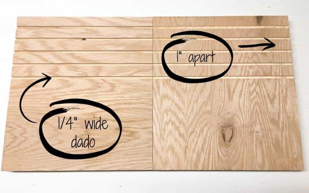 "Cut 5 dados on each vertical support of your sander and sandpaper storage unit, 1"" apart."