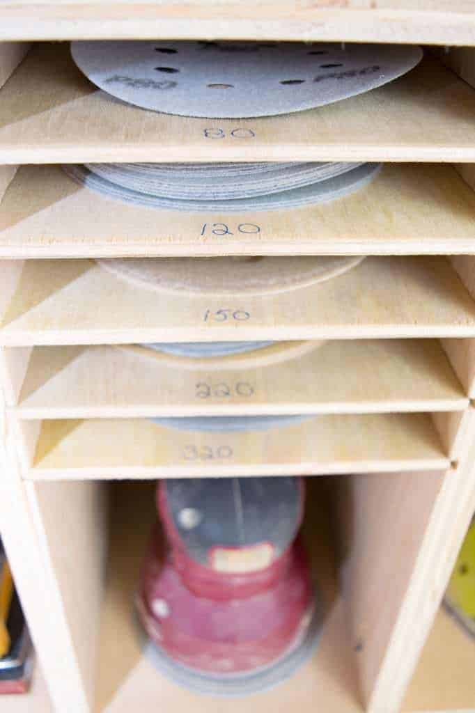 Label each slot of your sandpaper storage so you know which grit goes where.
