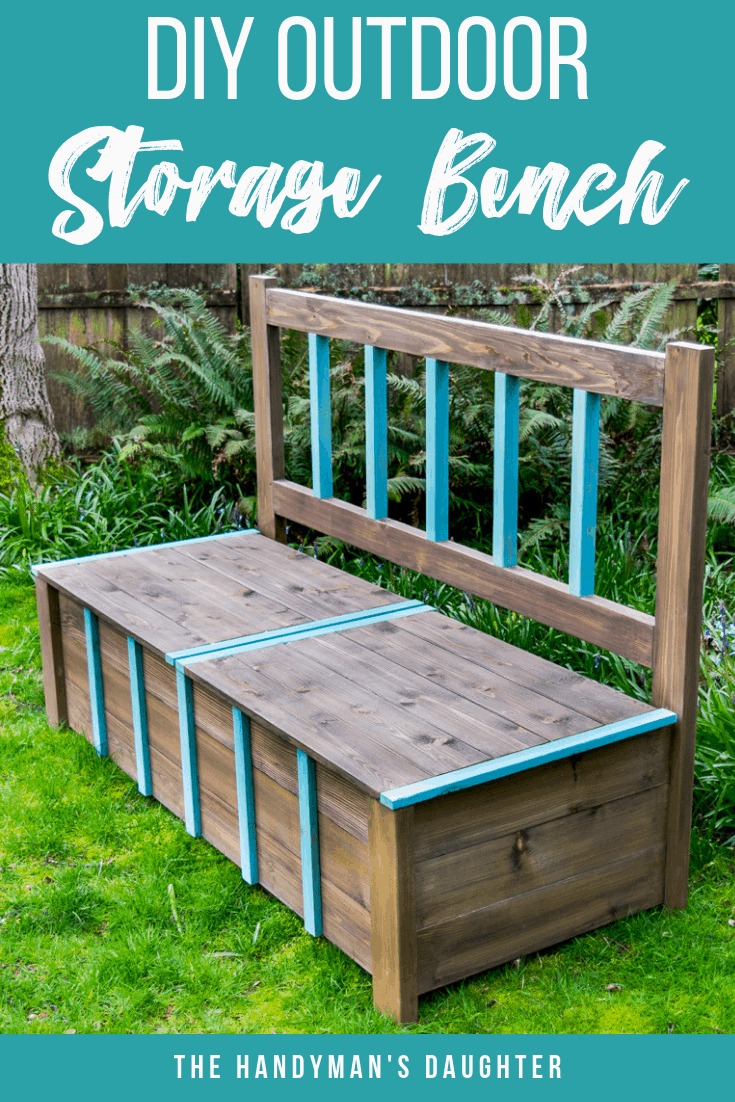 DIY outdoor storage bench with plans