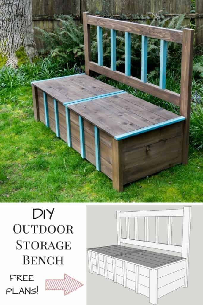 This DIY outdoor storage bench is the