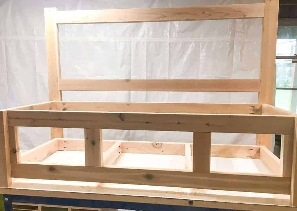 Your storage bench frame should look like this when completed.