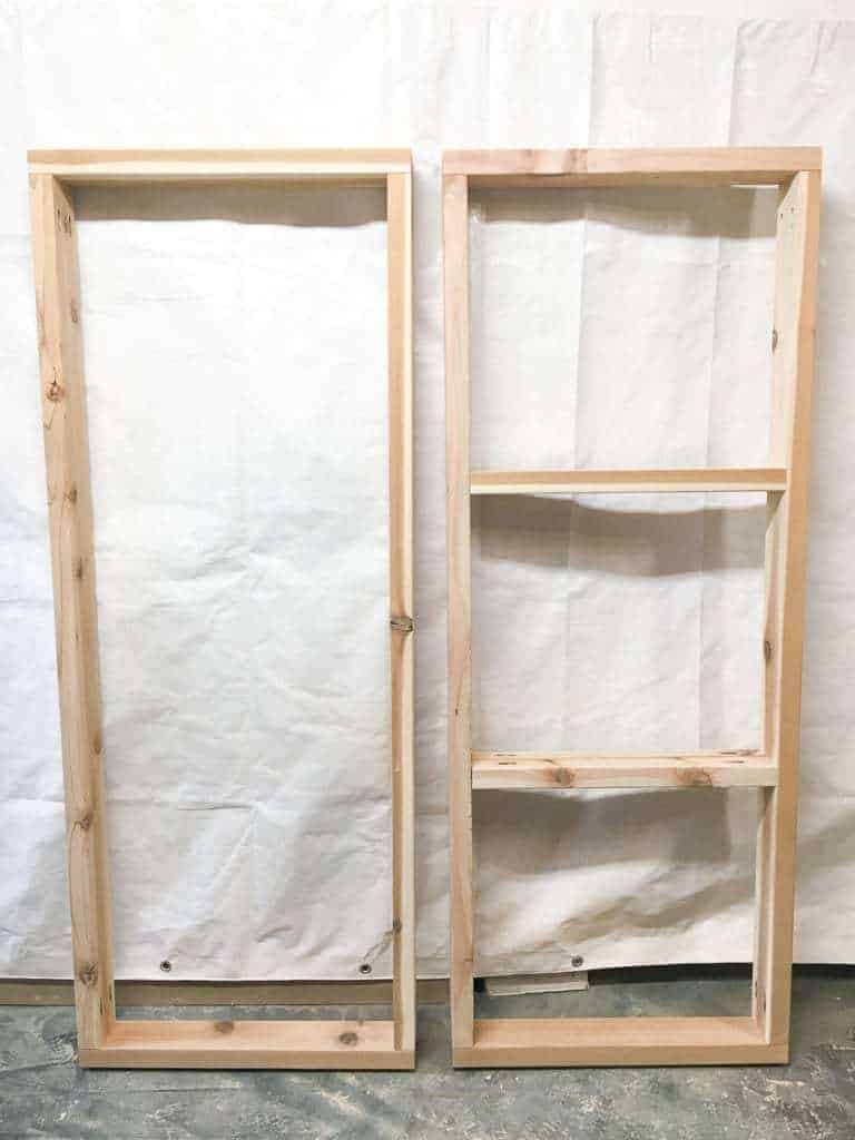 Your assembled frames for the DIY storage bench should look like this.