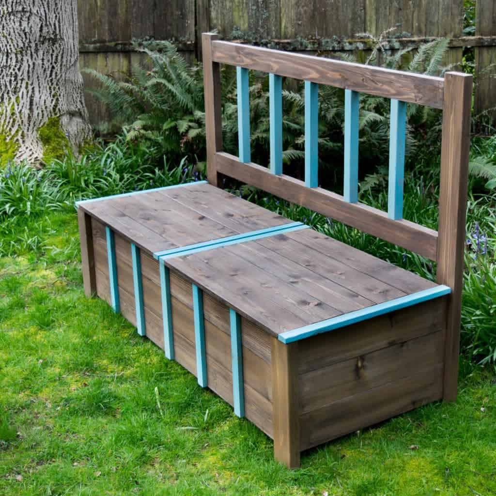 This DIY storage bench makes the perfect seating area in the backyard, and give us a place to store all the toys when it's time to head inside.