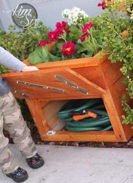 planter box with hidden hose storage