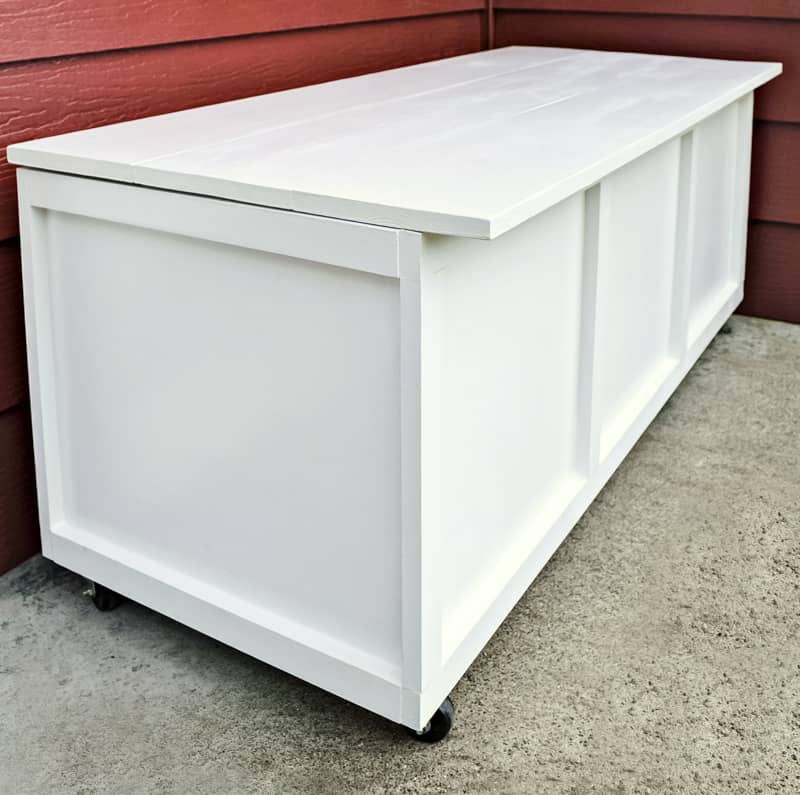 DIY storage bench on front porch