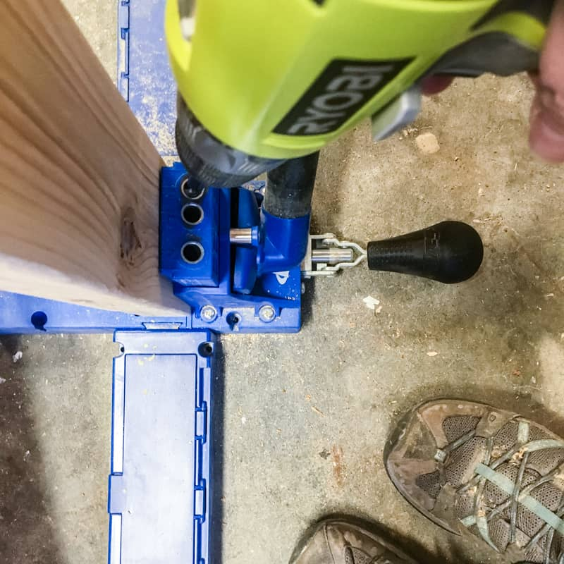 drilling pocket holes for DIY outdoor storage bench