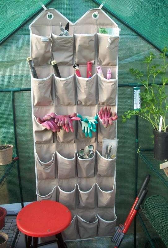 shoe organizer used as garden tool storage