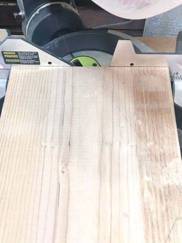Cut each side of the hexagon at a 30 degree angle on the miter saw.