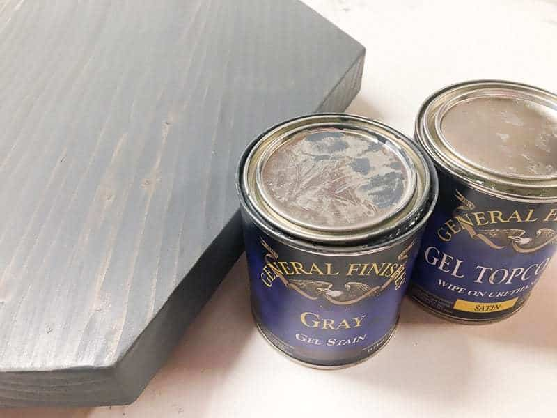 General Finishes gray gel stain is the perfect shade of gray for this hexagon side table top!