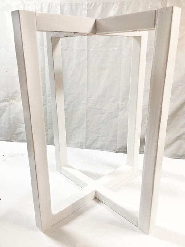 I painted the base of the hexagon side table white for a two toned look.