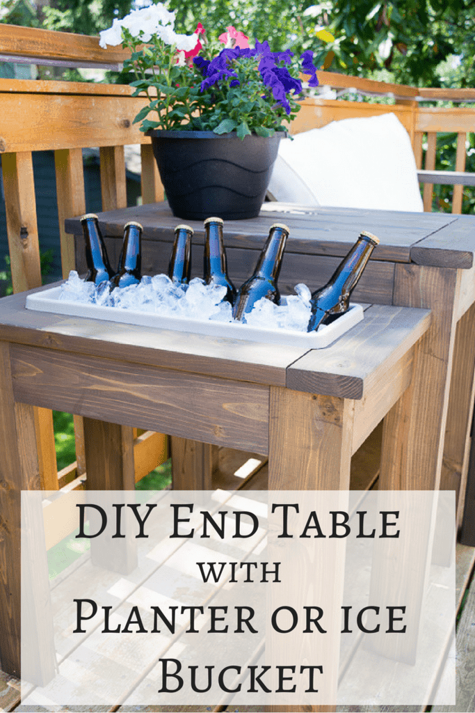 DIY outdoor end table with ice bucket or planter box