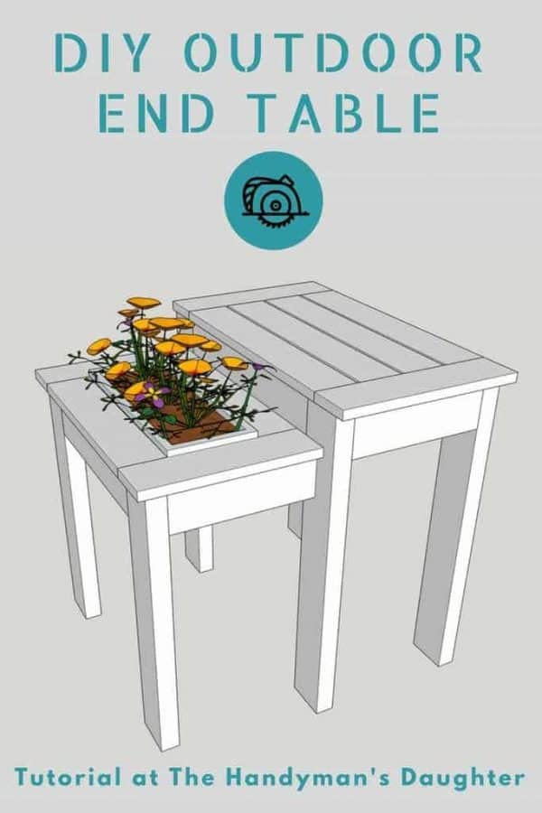 Get the free woodworking plans for this easy to build outdoor end table!