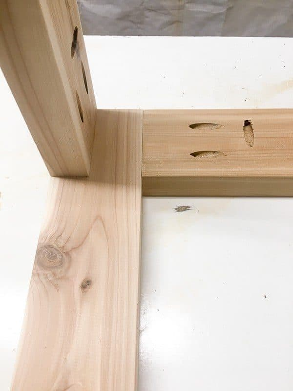 Add the cross supports for your DIY end table frame.