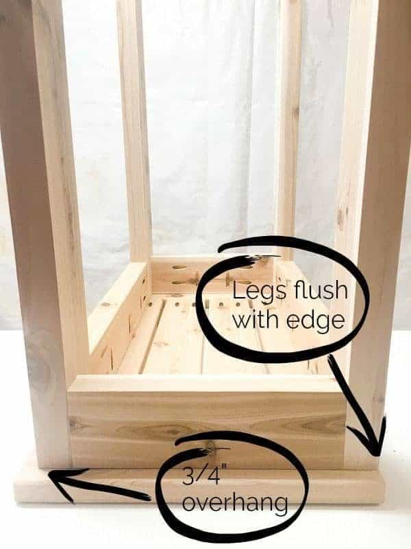 "Attach the table tops of the DIY end table with 3/4"" overhang on one side."