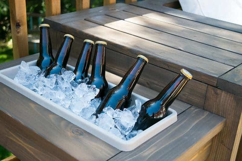 DIY outdoor end table with ice bucket