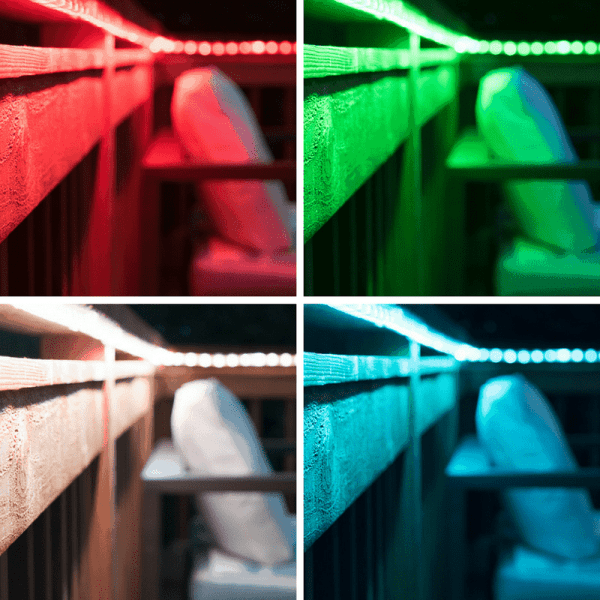 outdoor rope lights under deck railing in four different colors