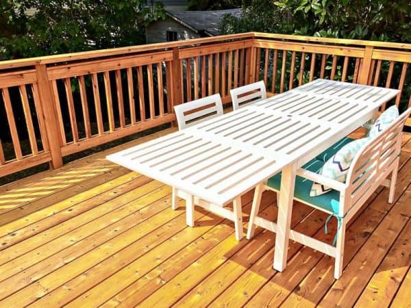 Outdoor Dining Table On Wooden Deck