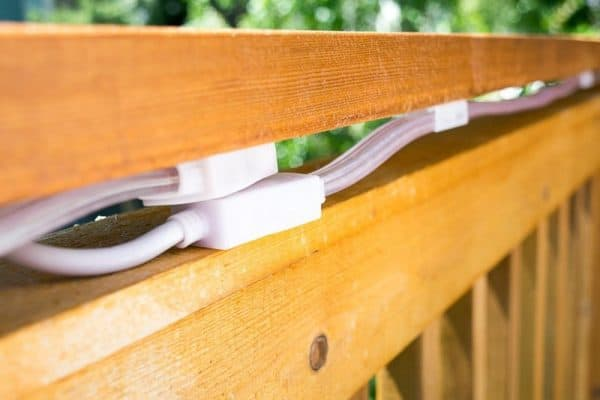 power bricks for outdoor rope lights under deck railing