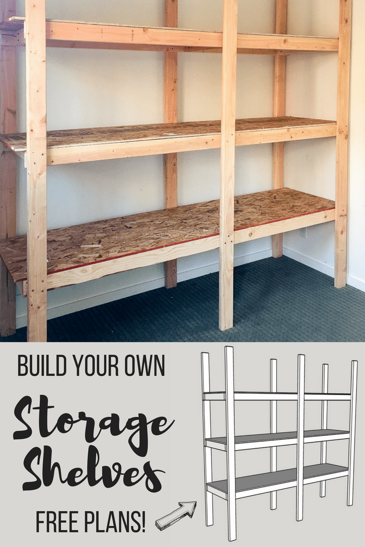 DIY storage shelves with image from free woodworking plans