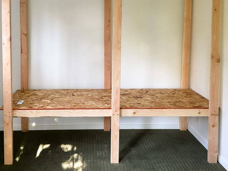 first shelf of shed shelving unit installed