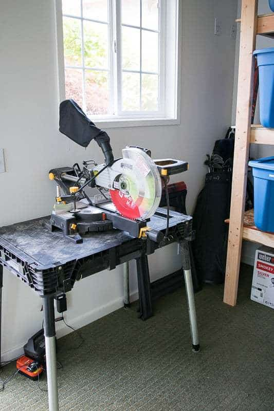 I cleared out enough space in our shed to leave the miter saw out and ready for building on a nice day!