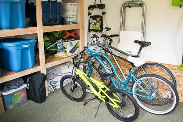 shed shelving with bikes parked in front