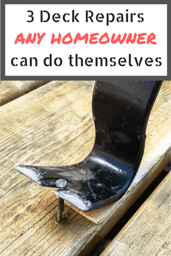 These deck repair tips are so easy, any homeowner can do it! Get your deck into shape for summer! | home improvement | deck tips | popped nails | uneven deck boards | uneven boards | curled deck boards | replace deck nails with screws
