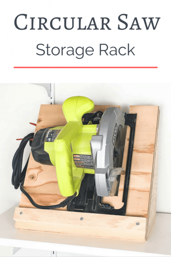 Keep your circular saw stored upright and ready to go! This circular saw storage rack is quick and easy to make with scrap plywood. | woodworking project | workshop storage | garage storage | tool storage | circular saw ideas | scrap wood project