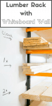 Keep track of the contents of your lumber rack with a whiteboard wall! Write out cut lists or shopping lists on the wall so you don't forget! Instructions on how to assemble a whiteboard wall   dry erase board   lumber rack organization   dry erase board wall   workshop ideas   workshop storage