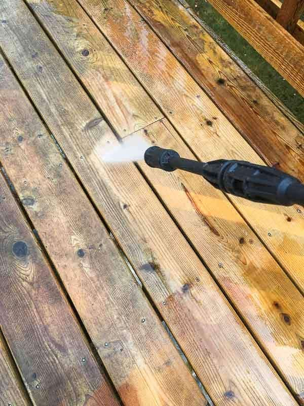 Test the strength of your power washer before using on the deck cleaner. You don't want to gouge the wood or raise the fibers.