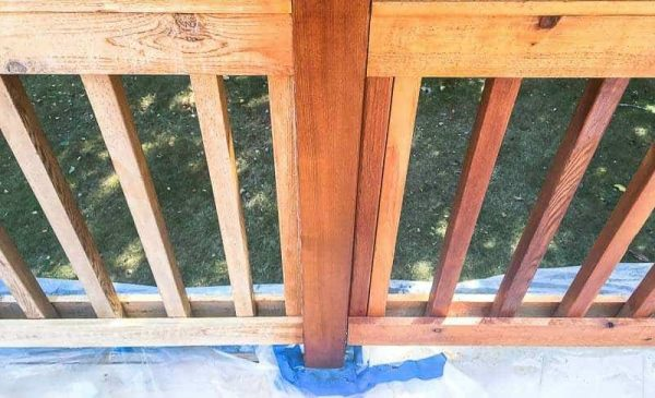 This is how to stain a deck railing fast!