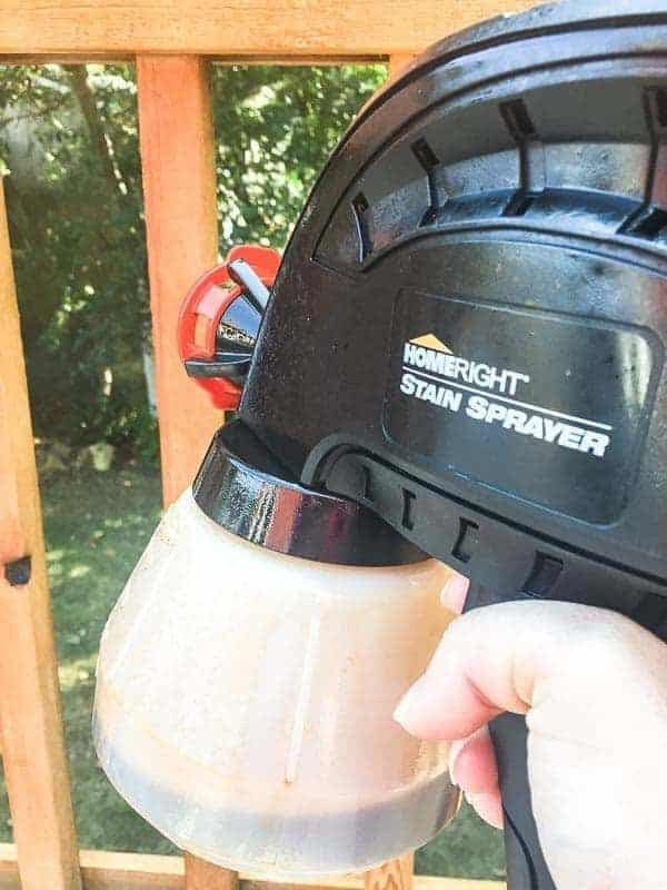 This stain sprayer is my secret weapon for how to stain a deck fast!