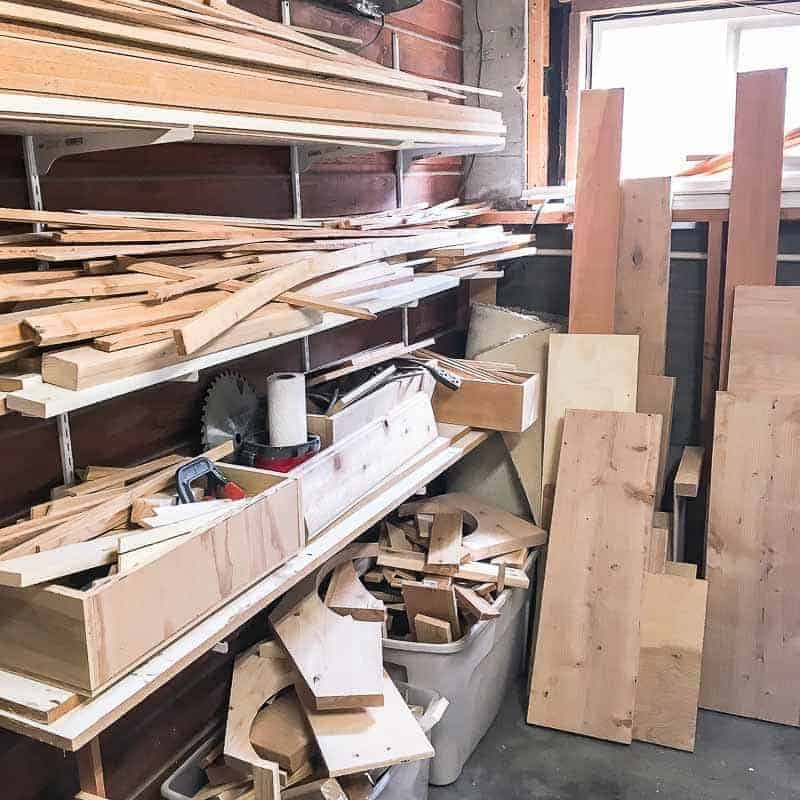 cluttered lumber rack