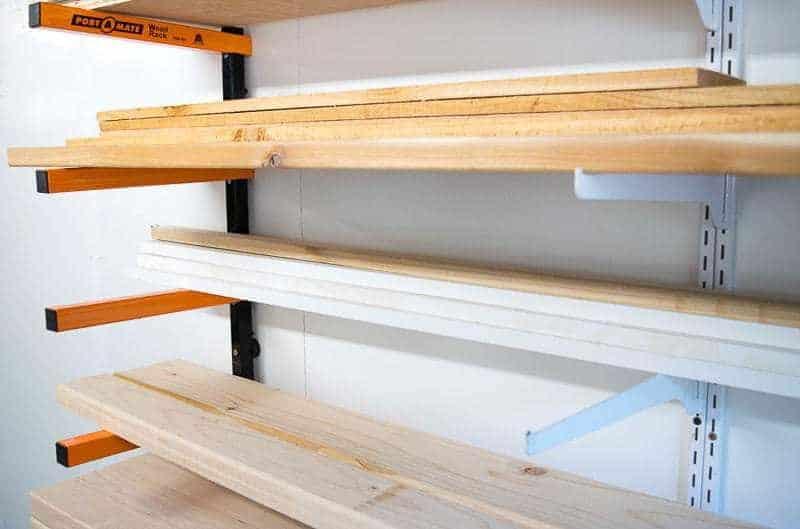 lumber organized on a lumber rack