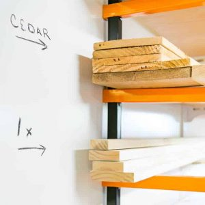Add a whiteboard wall behind your lumber rack to identify wood types and sizes. Also great for kids rooms!