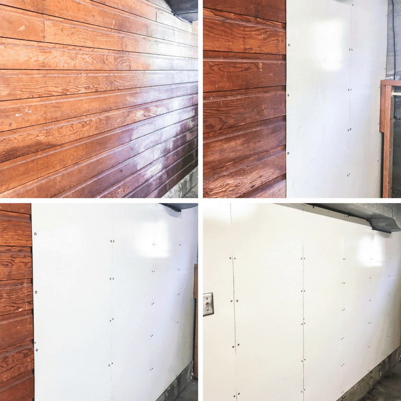 step by step photos of whiteboard paneling being installed