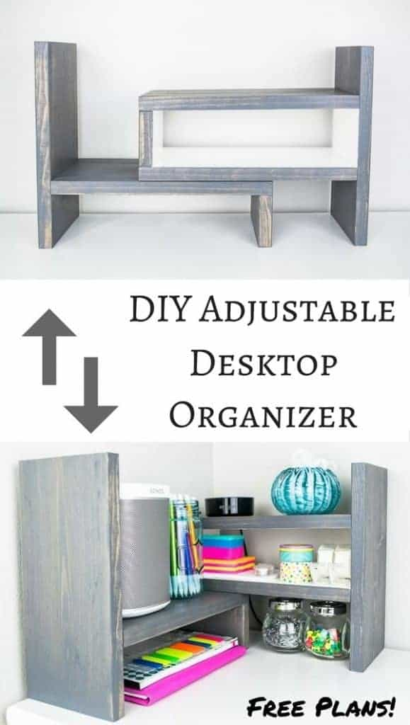 "This little desktop organizer fits a lot of storage in a small footprint! Adjusts from 12"" - 24"", or turn one shelf 90 degrees for a corner configuration!"