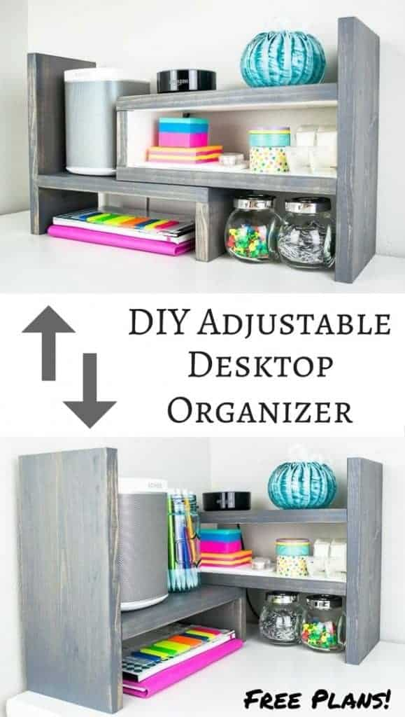 This desktop organizer has multiple configurations, making it easy to find the perfect one for your space! Get the free woodworking plans! | easy woodworking project | desk organizer | kitchen shelf | spice storage | spice shelf | office supply storage | display shelf