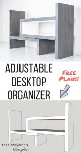Gray and white wooden desktop organizer with 3D model image
