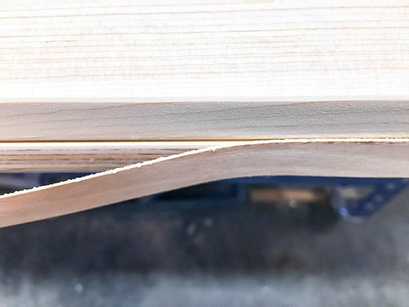 edge banding covering up plywood edges of DIY barn door