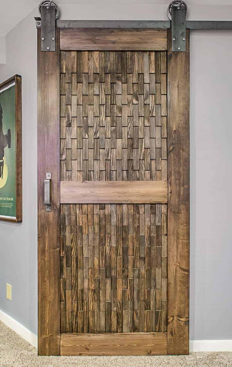 DIY barn door with wood shim texture