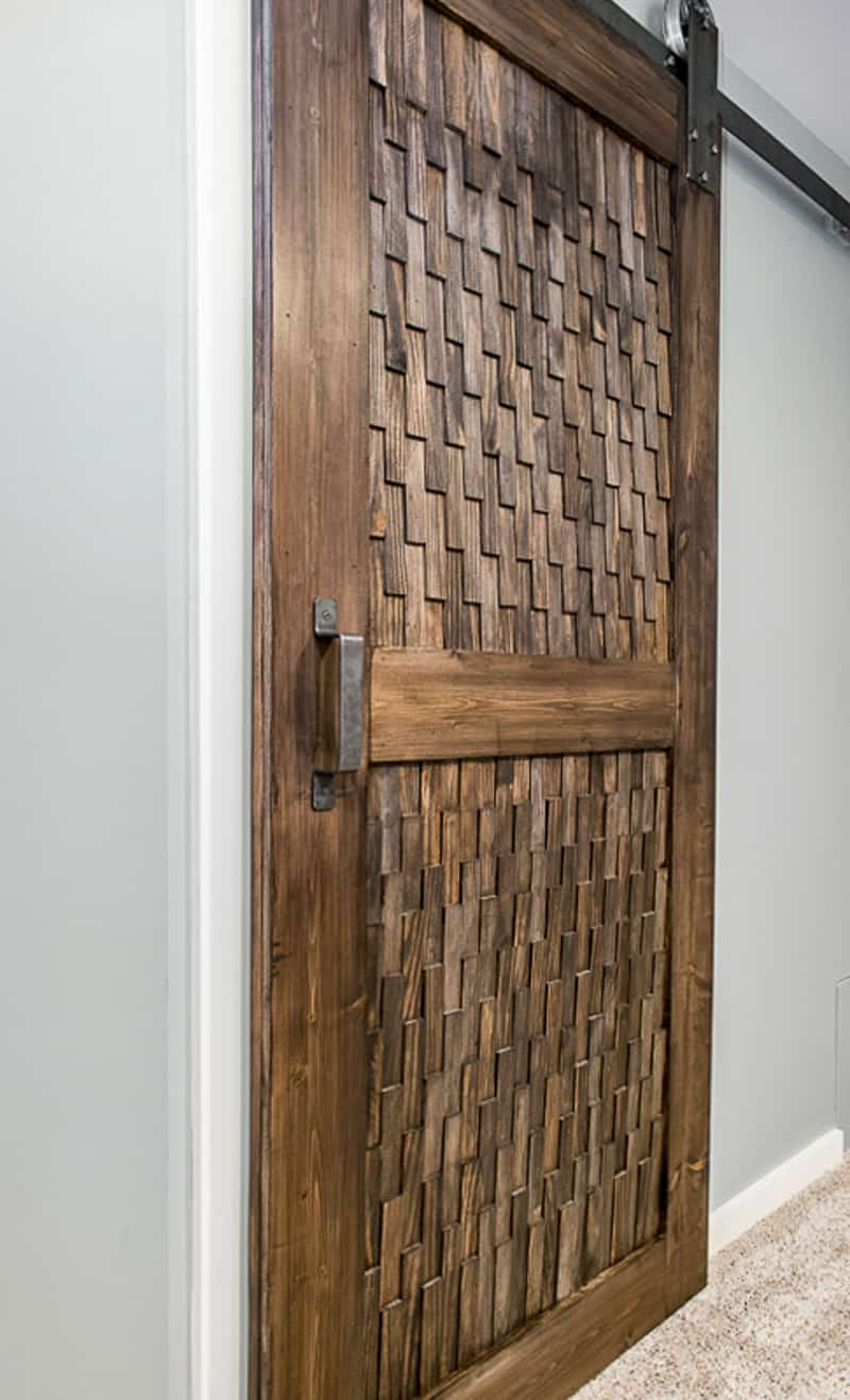 modern DIY barn door with patterned panels