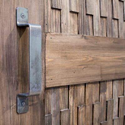 DIY barn door with metal pull handle
